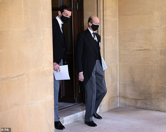 Prince Edward, the Duke of Kent, whose father was the fourth son of Queen's grandparents King George V and Queen Mary, wore the Garter Star.