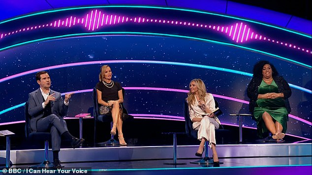 Star-studded: The show saw Jimmy Carr, Amanda Holden, Nadine Coyle and Alison Hammond try to help the contestants guess who the singer was alongside host Paddy McGuinness