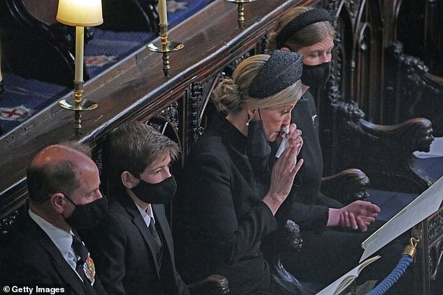 The Earl of Wessex, James Viscount Severn, The Countess of Wessex and Lady Louise Windsor attend the funeral of Prince Philip, Duke of Edinburgh, at St George's Chapel in Windsor Castle