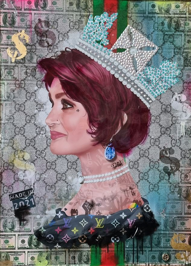 ¿I love the Queen¿, says Sharon, who is looking rather regal herself in her $50,000 portrait by artist Dan Pearce.¿Lady O¿ by Dan Pearce, using acrylic spray paint, metallic inks, gold leaf and Swarovski crystals