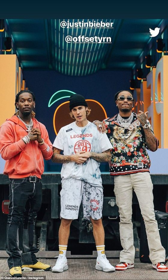 Teamwork: On Friday, Justin joined his friend and associate Quava for Legends Day in Atlanta, along with fellow rapper Offset