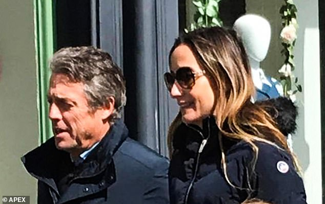 Hot: The adored dad wrapped in a black jacket paired with jeans and a pair of boots, while Anna donned a quilted jacket, blue jeans and sheepskin boots