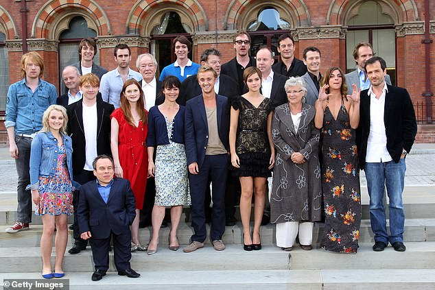 Grateful: The Draco Malfoy actor thanked Helen - who played his on-screen mother, Narcissa Malfoy - for 'lighting the way forward' (pictured with the Harry Potter cast)