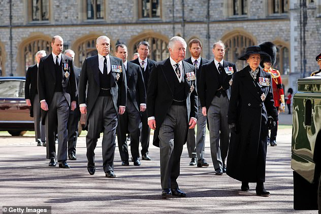 Prince Charles, Princess Anne, Prince Andrew, Prince Edward, Prince William, Peter Phillips, Prince Harry, Earl of Snowdon and Timothy Laurence follow the casket during the ceremonial procession