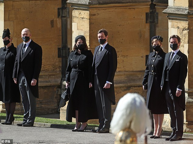 The royal couple were among 30 families and friends of the Duke of Edinburgh who attended the moving service at St George's Chapel yesterday afternoon.