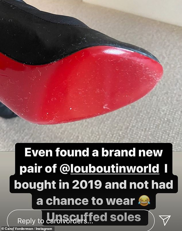 Pleasant surprise: the former Countdown star discovered a brand new pair of Louboutin heels at the back of her wardrobe that she had `` not had the chance to wear '' since 2019.
