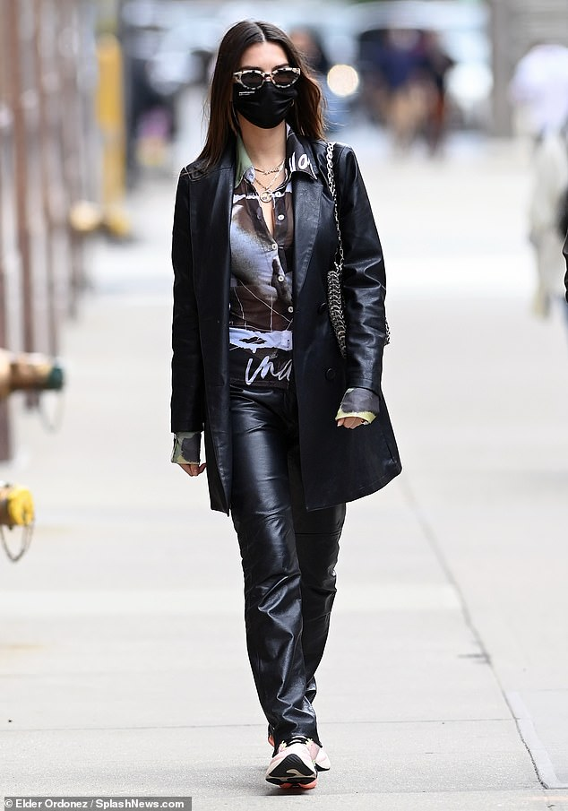 Leather lover: Actress / writer, 29, looked rocker-chic in a cool leather ensemble