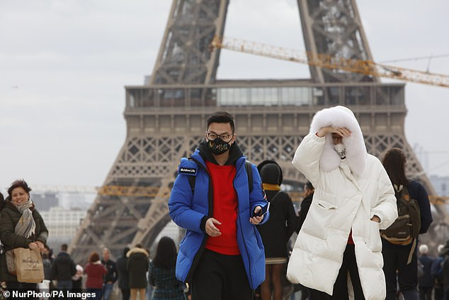 He told CBS News: 'We are building a certificate to facilitate travel after these restrictions between the different European countries with testing and vaccination.' Pictured: Paris in February