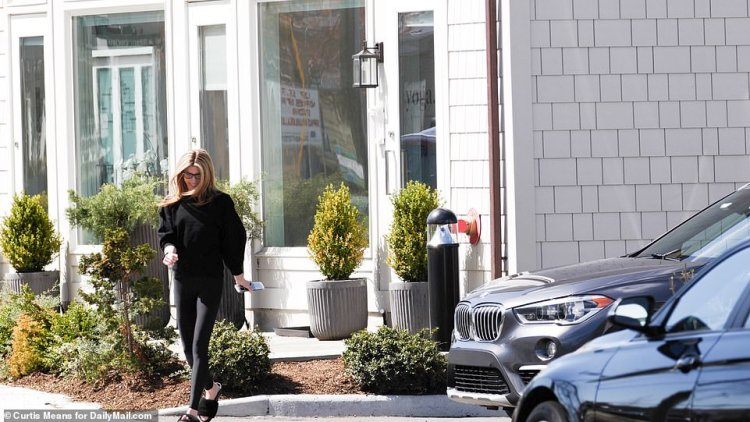 Shana is pictured leaving her yoga studio in Westport, Connecticut on Sunday