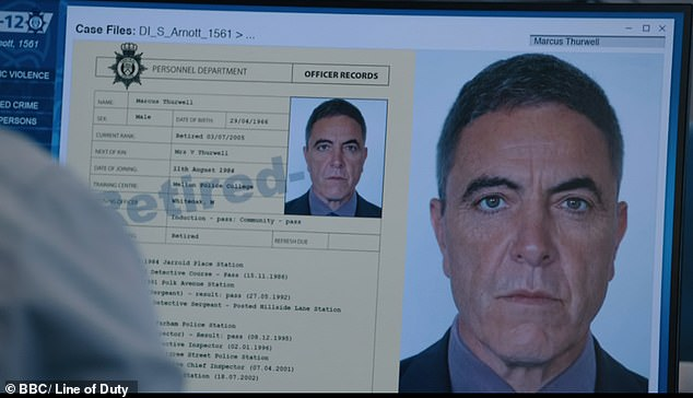 Shock: James Nesbitt made a surprise appearance in the police show on Sunday night as character Marcus Thurwell, who was first mentioned in series three