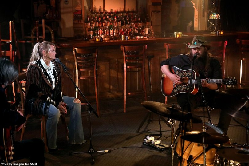Superstars: The top nominees Miranda Lambert and Chris Stapleton collaborated for an intimate duet in a bar setting at the Bluebird Cafe.