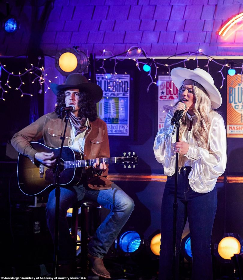 Rising star:Gabby Barrett, who won the award for New Female Artist of the Year, put on a small-scale performance at the Bluebird Cafe of her song The Good Ones
