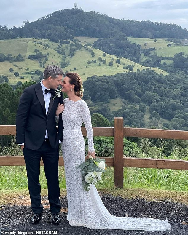 Just married: Channel Nine news presenter Wendy Kingston was married on Saturday in what appeared to have been an intimate ceremony in New South Wales. Pictured with husbandRichard Jefferies