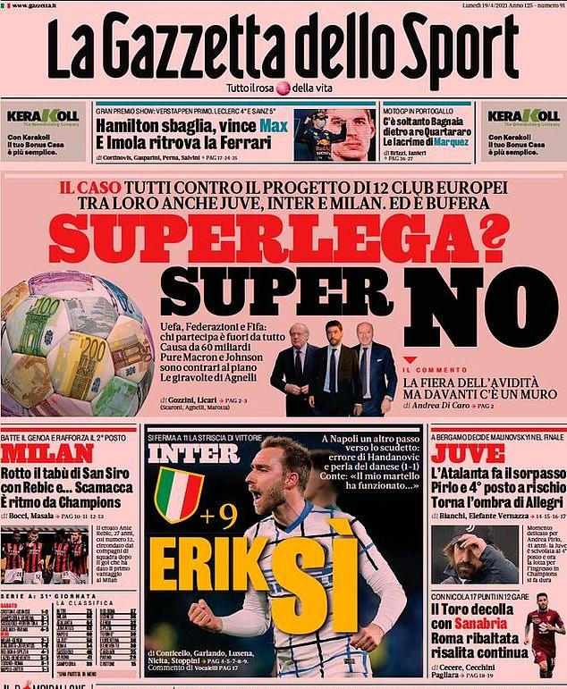Italy's La Gazzetta dello Sport delivered a 'Super NO' at plans to from a Super League