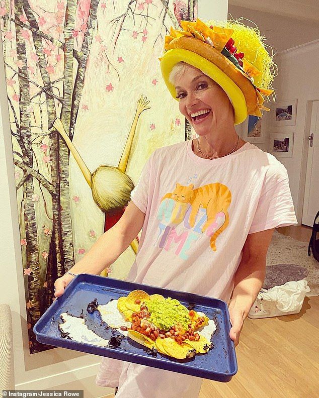 Tasty!Jessica Rowe (pictured) is the author of the book Diary of a Crap Housewife, and she appears determined to live up to the name. The 50-year-old showed off her version of nachos in an Instagram post on Monday, revealing her unusual way of serving the dish