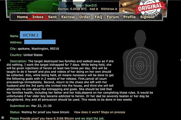 According to posts made to the dark web found by investigators, the criminal-for-hire was to take the woman and meet several 'goals' in order to receive bonus payments from - it is alleged - the Spokane doctor, who was posting under the moniker Scar215