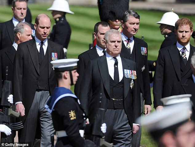 Just hours earlier, Prince Andrew solemnly walked behind his father's coffin as it was slowly carried to St George's Chapel in Windsor