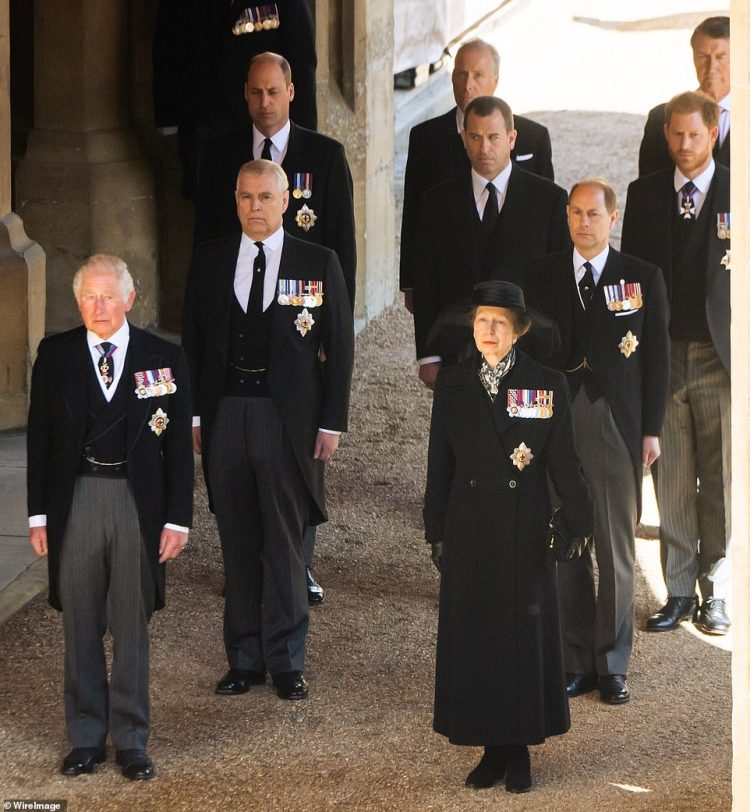 Senior royals, including Princes Charles and William and Princess Anne, walk behind Prince Philip's coffin during Saturday's funeral in Windsor