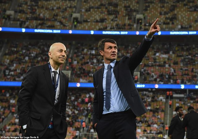 Ivan Gazidis (left) was at the meeting in his role as an Arsenal chief exec but has since moved to Italian side AC Milan, who have also been announced as one of the 12 founder members of the Super League