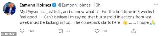 'Comeback': Mengambil ke Twitter, dia menulis: 'Physio saya baru saja pergi, dan kamu tahu apa?  Untuk pertama kalinya dalam 5 minggu saya merasa baik!