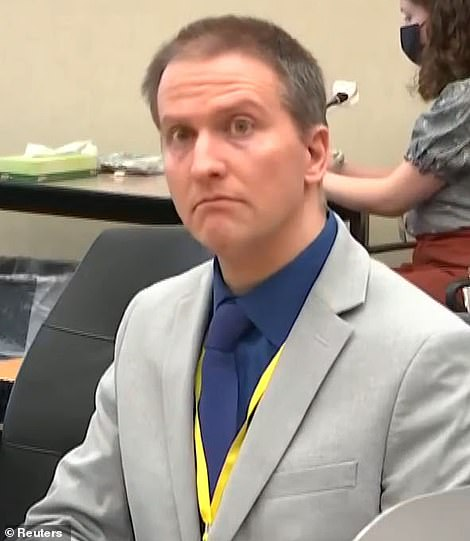 Derek Chauvin is pictured in court on April 19