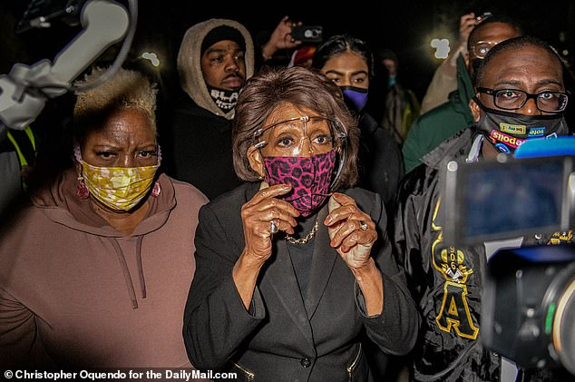 Waters (D - California) had joined protesters in the Minneapolis suburb of Brooklyn Center on Saturday night for a demonstration over the death of Daunte Wright, a 20-year-old black man shot dead by a white police officer during a traffic stop on April 11
