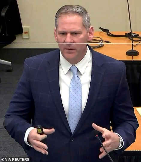 In his closing statement Prosecutor Steve Schleicher (pictured) asked the jury to consider whether Floyd would have died were it not for Chauvin's restraint