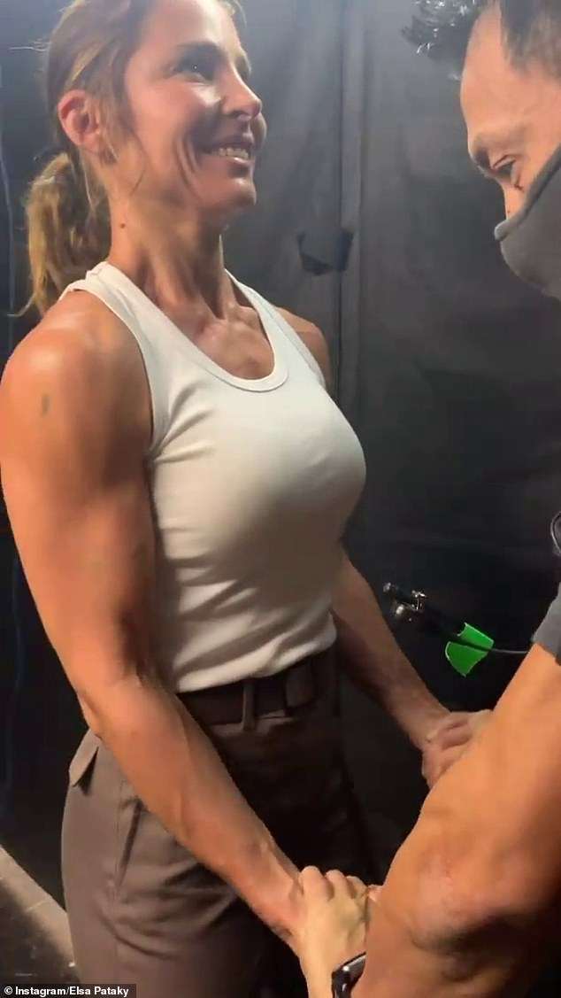 Coming for you, Chris! Elsa Pataky is challenging her Thor actor husband in the muscular stakes, with the 44-year-old sharing a behind-the-scenes video of her bulging biceps on Wednesday