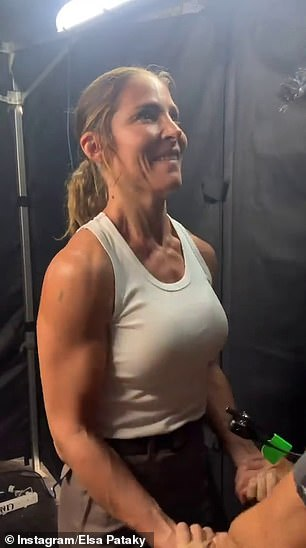 Get your pump on: Elsa captioned the post, 'Pump those biceps before shooting!'
