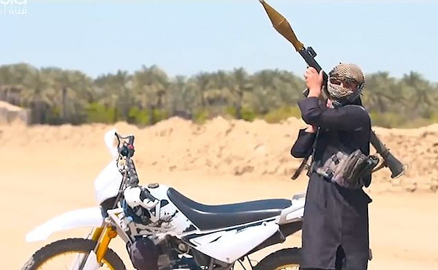 The candid camera-style television show airs during the Muslim holy month of Ramadan. Pictured: an actor playing a jihadi with a fake rocket launcher