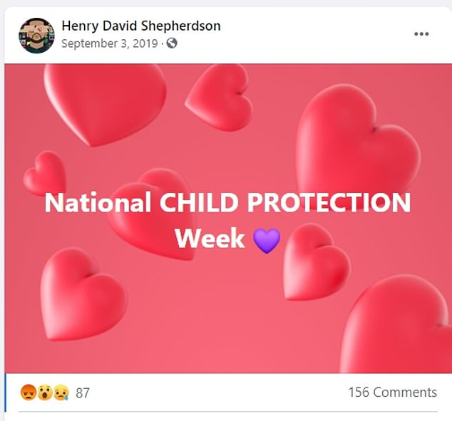 Shepherdson's social media was littered with references to his daughter, including one post in which he drew attention to National Child Protection Week