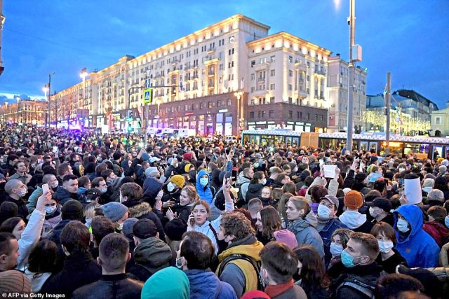 Opposition supporters attend a rally in support of jailed Kremlin critic Alexei Navalny. His team called for demonstrations in more than 100 cities in Russia