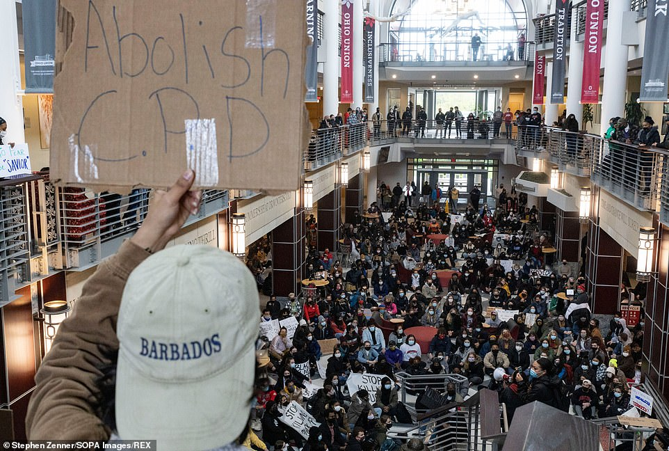 Hundreds of Ohio State students staged a sit-in at the union building and called on the university to cut ties with the Columbus Police Department on Wednesday in the wake of the shooting