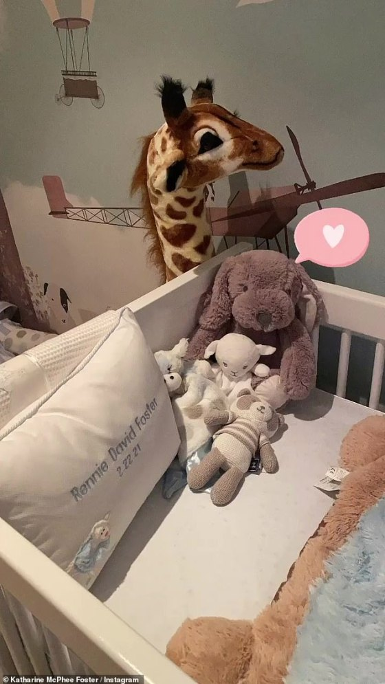 Heartwarming: Katharine took to Instagram on Wednesday and shared snaps of Rennie's new nursery