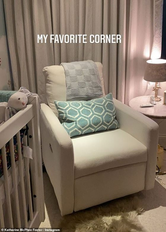 Corner: A comfortable cream chair sits right next to the bed where David and Katherine can spend time with the toddler