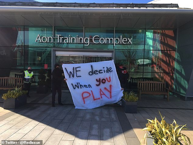 Manchester United fans gathered at the club's Carrington training ground to protest