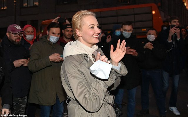 Navalny's wife Yulia attended Wednesday's protests, but turnout looked smaller than during demonstrationsearlier this year before Navalny was jailed for 2-1/2 years for parole violations related to what he said were politically motivated charges of embezzlement