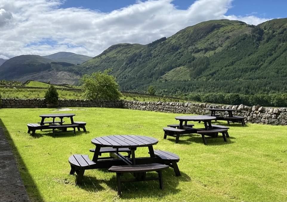 The beer garden at theBen Nevis Inn and Bunkhouse. The pub is a converted 200-year-old barn that also provides accommodation