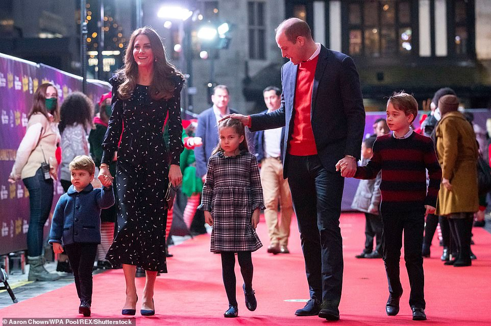 The Duke and Duchess of Cambridge with their children Prince Louis, Princess Charlotte and Prince George as they attend a special pantomime performance at the Palladium Theater in London in 2020