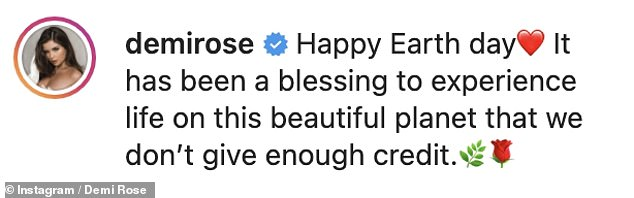Grateful: Demi Rose also made sure to draw attention to Earth Day as she flaunted her stunning assets and went topless for a sexy selfie in honor of this special date.