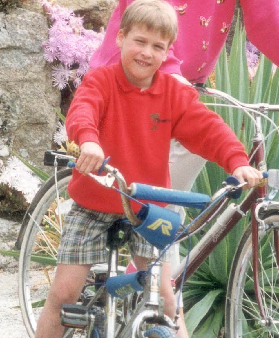 Kensington Palace did not disclose the times Louis will attend, but previously the Duke and Duchess of Cambridge had started their children in the morning or afternoon.  Pictured: Prince William enjoying a bike ride at Tresco on the Isles of Scilly in Cornwall in 1989