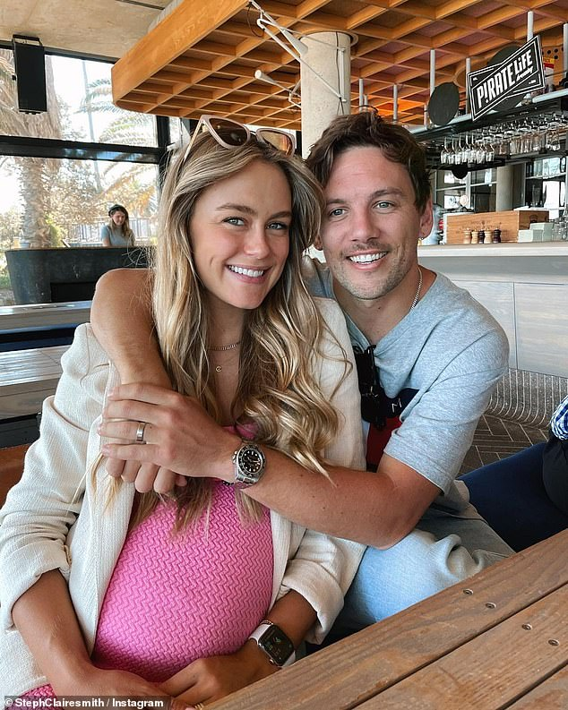 Baby joy: In February, Steph revealed she and her husband Josh Miller were expecting a son
