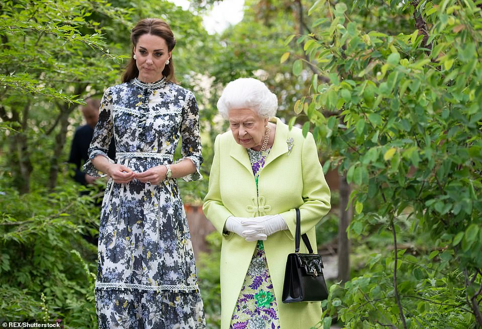 Kate's Back to Nature garden at the last Chelsea Flower Show (pictured there with the Queen in 2019) featured a rope swing, tepee hideaway and a tree house to encourage children to immerse themselves in nature