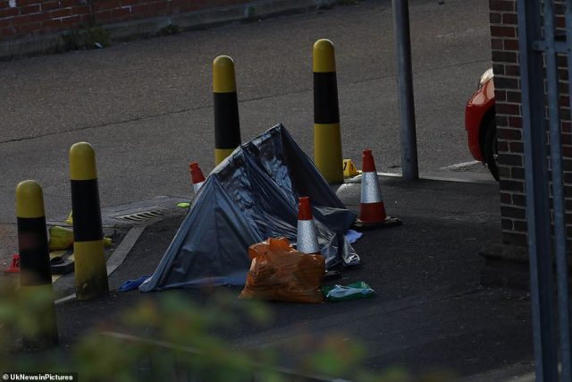 The car park was closed yesterday although the M&S store continued trading as normal while officers swarmed the area and experts tried to establish what had happened