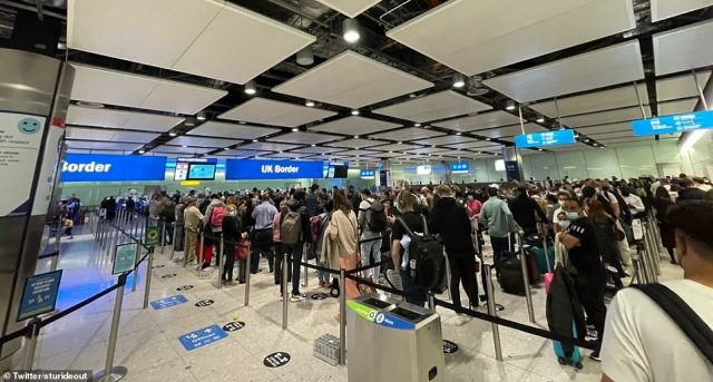 Queues at Heathrow last night. Huge airport queues are being made worse because electronic-gates cannot be used because the Government is yet to fully digitise the 'passenger locator forms', which travellers must fill in before heading to the UK