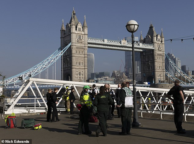 Police have launched a search for a 13-year-old boy who went missing after falling into the River Thames from Tower Bridge on his way to school (emergency services at the scene)