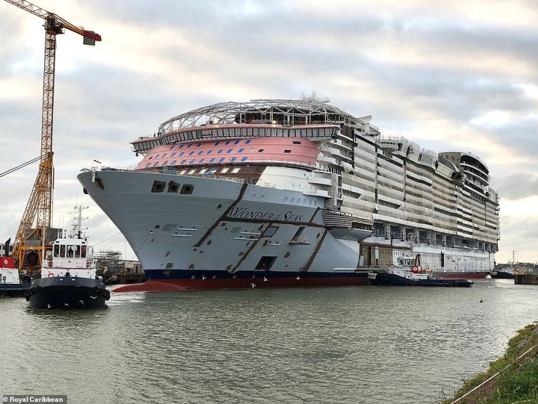 Royal Caribbean's epic new cruise ship Wonder of the Seas will be the biggest in the world when it launches in 2022. It is pictured in Saint Nazaire, France, in September 2020
