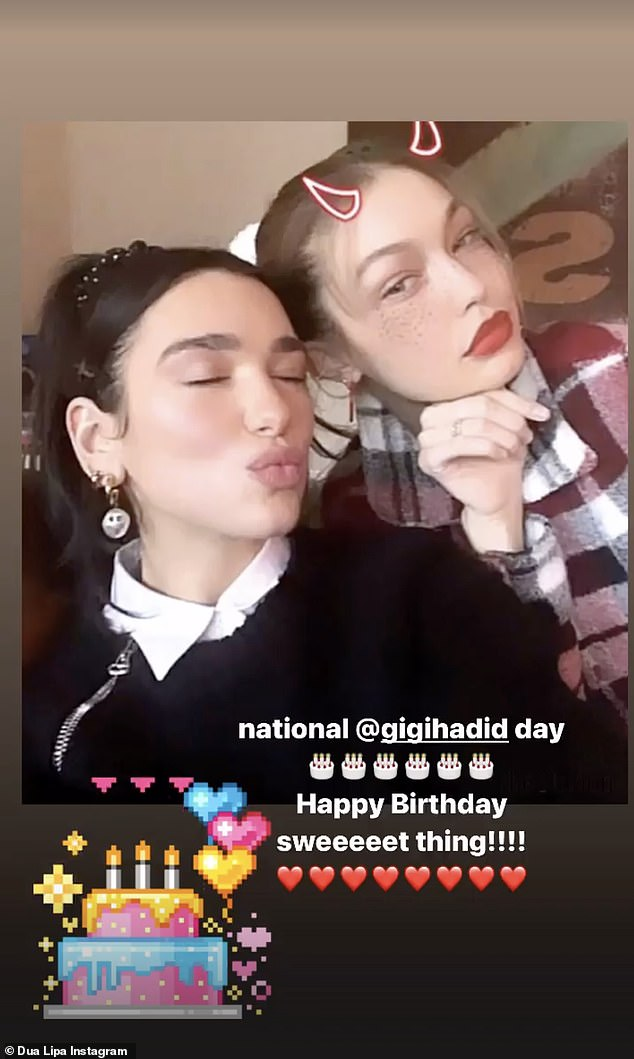 National holiday: Herbrother Anwar's girlfriend Dua Lipa was quick to celebrate 'national @gigihadid day,' writing 'Happy birthday sweet thing!!!!!'