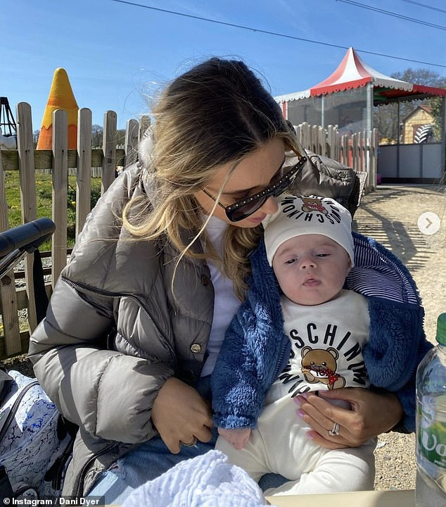 Mother and son: Last week Dani was focusing on spending quality time with their three-month-old son as she enjoyed a farm trip with some pals