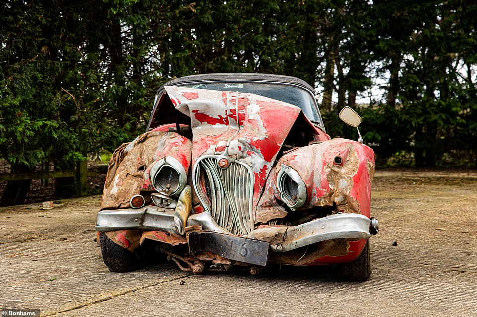 The classic Jag was crashed in 1996 by the current owner when the car skidded off the road and into a tree in the rain in Hull, East Yorkshire. The extent of the shunt is still clearly visible today